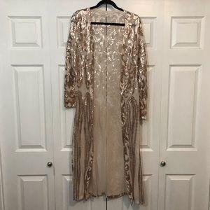 Rose Gold Sequin Duster Cardigan